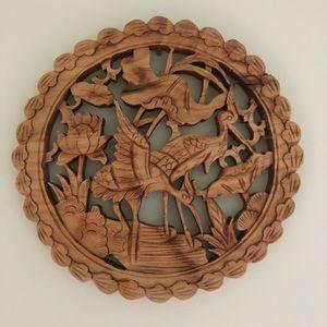 Vintage Hand Carved Heron's  Wall Hanging Stork Lotus Timber Flower Homewares